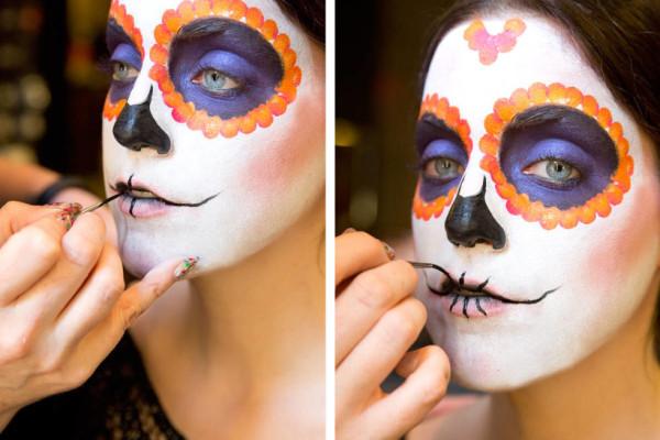 maquillaje-de-esqueleto-para-carnaval-2016-calavera-mexicana-boca-2