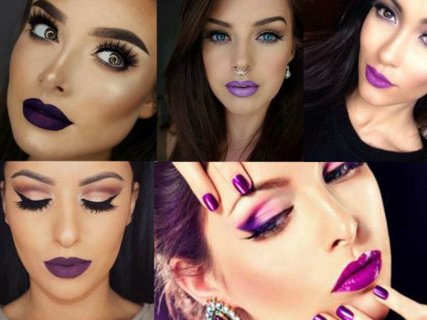 maquillaje-para-un-vestido-morado-labios-morados-collage