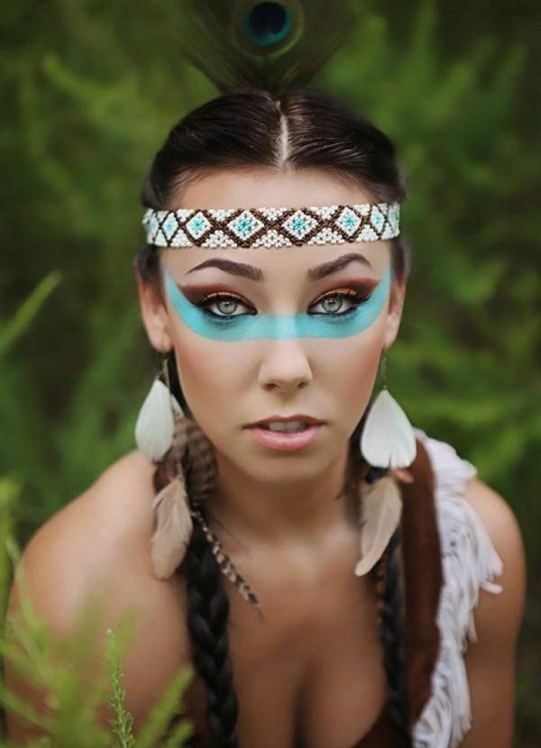 maquillaje-de-india-para-carnavales-halloween-2016-turquesa